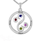 Color Stone Mothers Open Hearts Necklace