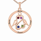 Color Stone Open Hearts Angel Necklace