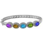 Color Stone Bangle Bracelet
