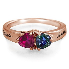 Color Stone Couples Heart Ring