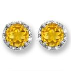 1/15 Ct. tw Diamond Color Stone Stud Earrings