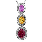 Color Stone Three Stone Necklace