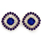 Color Stone Stud Earrings