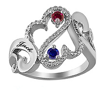 1/20 Ct. tw Diamond Color Stone Couples Heart Ring