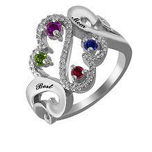 1/20 Ct. tw Diamond Color Stone Mothers Heart Ring