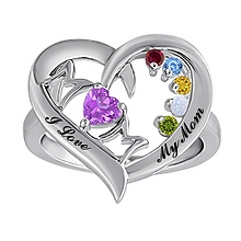 Color Stone Mothers Heart Ring