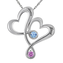 Color Stone Couples Heart Necklace