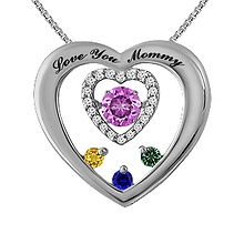 Colors in Rhythm Mothers Heart Necklace Color Stone