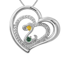Color Stone Couple's Heart Necklace