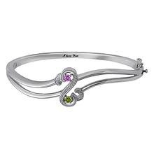Diamond and Color Stone Heart Bangle Bracelet Sterling Silver