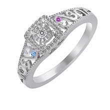 1/10 Ct. tw Diamond Color Stone Couple's Heart Ring
