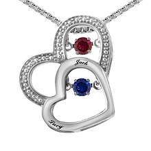 Colors in Rhythm Couples Heart Necklace Color Stone