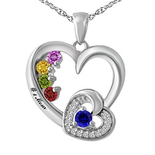 1/20 Ct. tw Diamond Color Stone Mothers Necklace